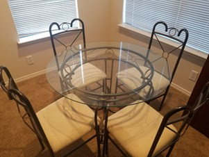 Glass Top Dining Table With 4 Chairs   $110