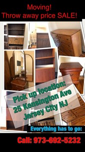 Moving Out Of Jersey City! All Furniture Throw Away Price Sale