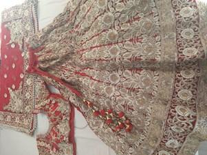 Bridal Wear Lehenga Choli Red Gold & Groom Sherwani
