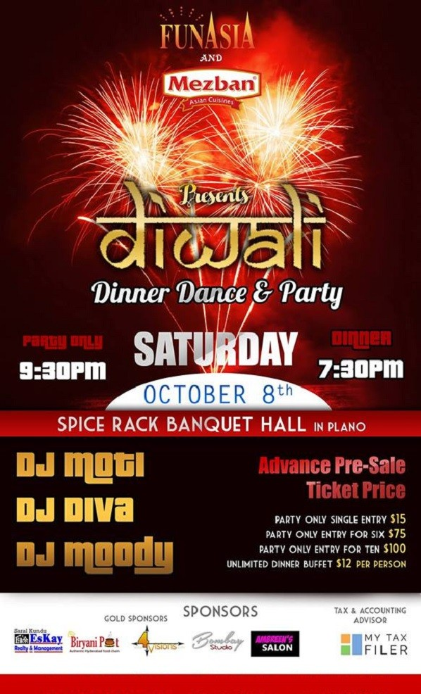 Diwali Dinner And Dance Party At Spice Rack Banquet Hall