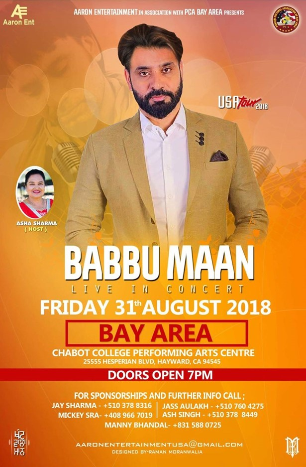 babbu maan live in concert 2018 bay area at chabot college hayward