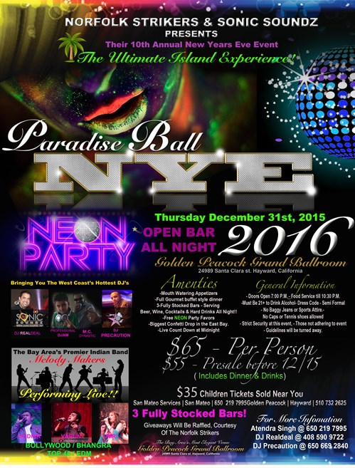 10th Annual Paradise Ball NYE Party w Open Bar All Night NEON