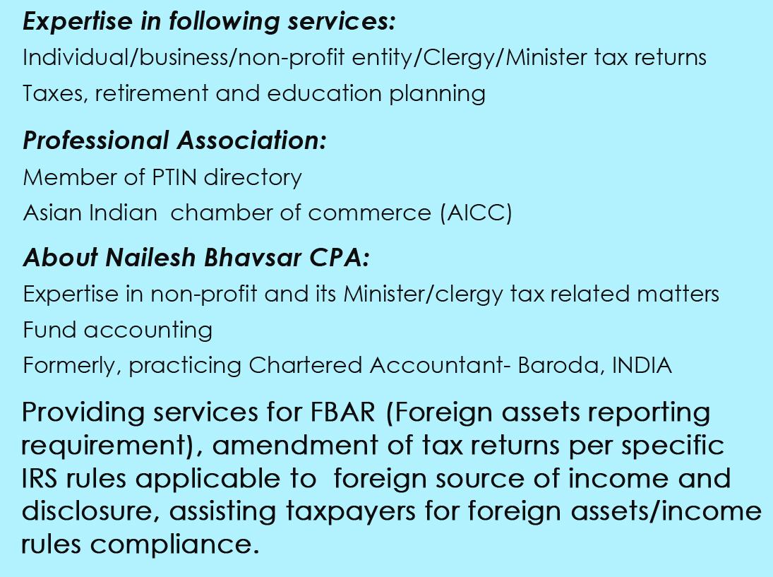 Nailesh T. Bhavsar CPA - Tax Service - 100 Plainfield Ave, Edison ...