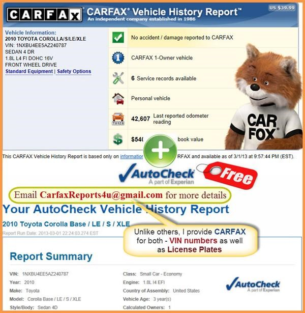 Buy 100% Genuine FULL CARFAX Report & Get AUTOCHECK Report